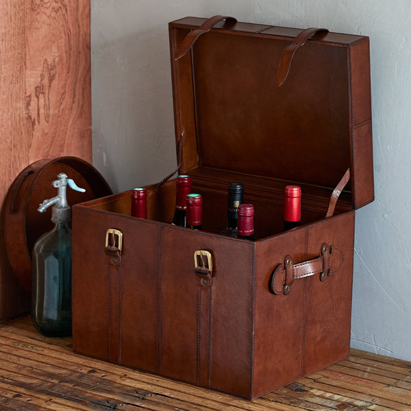 leather wine bottle case