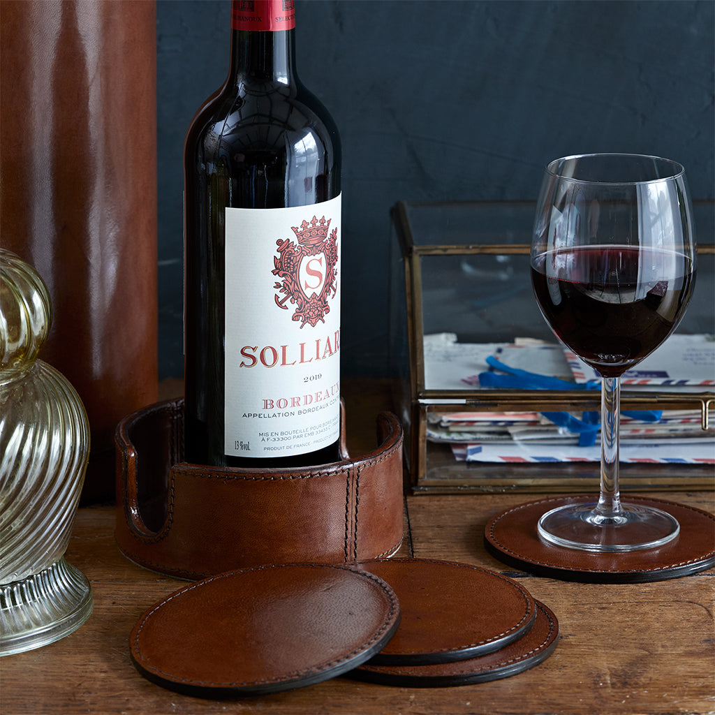 leather wine bottle coaster and 6 coasters