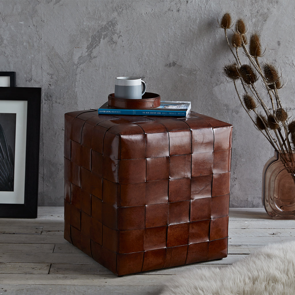 Leather ottoman foot stool