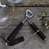 Leather handled Bottle Opener and Corkscrew Gift Set. Includes Presentation box