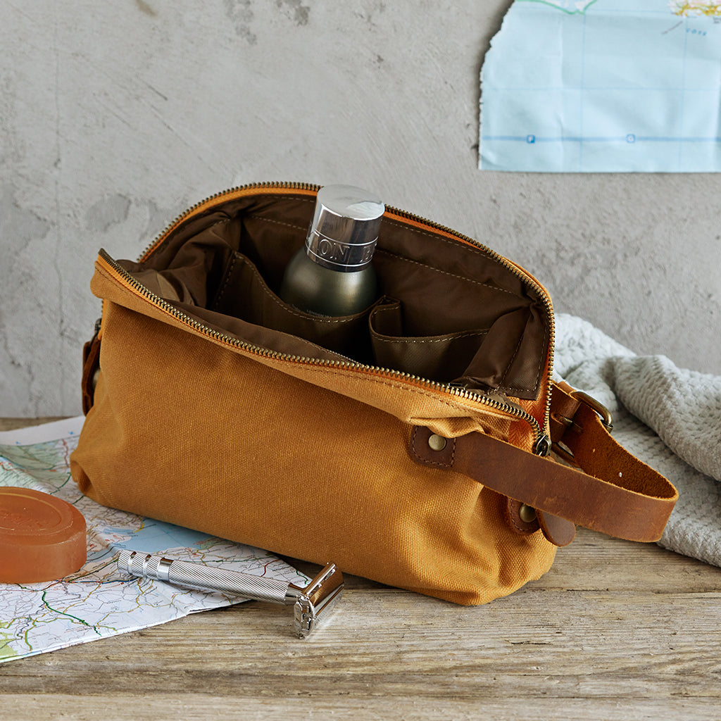 mustard waxed canvas toiletry bag