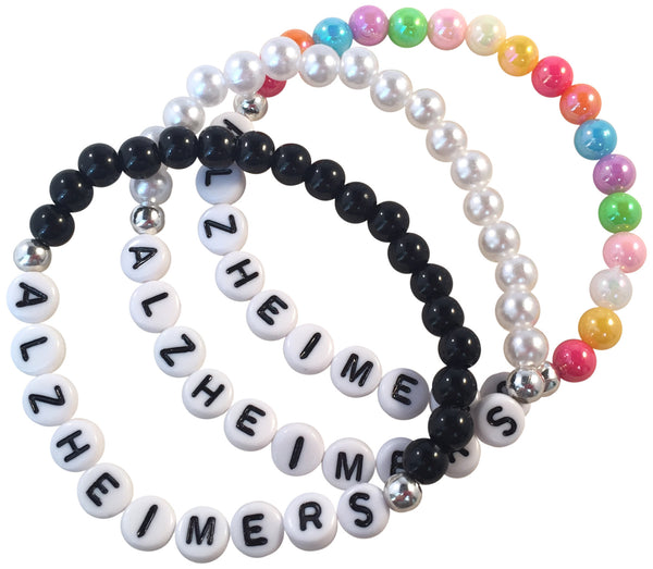 ALZHEIMERS Acrylic Bead Bracelet with Letters 16 Colour Choices Medical Alert - MediBracelets - 1