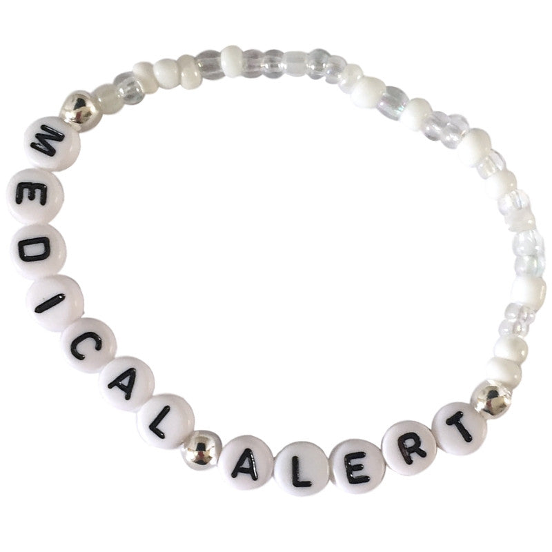 Bracelet ANY MEDICAL ALERT - White and Clear Glass Seed Mix with Letter Beads - MediBracelets - 1