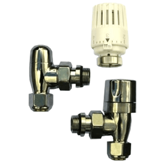 "Chrome plated 1/2"" thermostatic radiator valve pack"