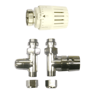 "Chrome plated 1/2"" thermostatic radiator valve pack (straight)"