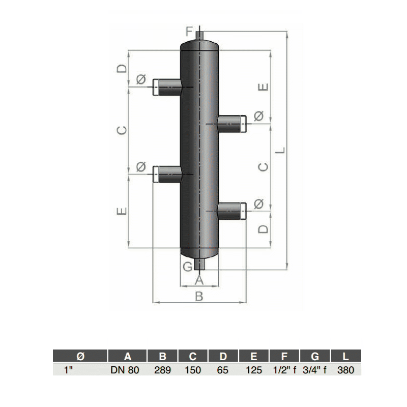 "DIACOM Hydraulic separator 1"" Threaded Connection"