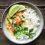 vegetable thai curry with jasmine rice