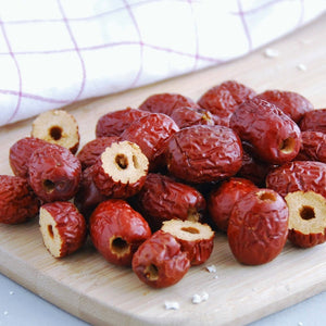 Red Dates / Jujube Fruit on chopping board