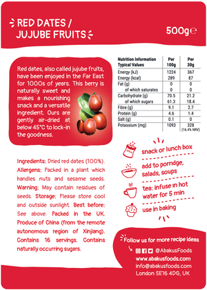 Red dates / jujube fruit bulk bag label