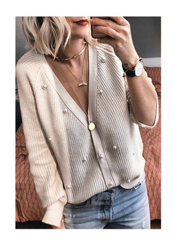 Grace & Mila Knitted Pearl Cardigan