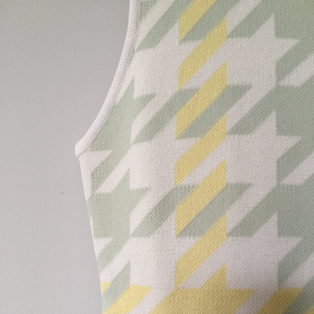 Cubic - mint & lemon houndstooth cocktail dress