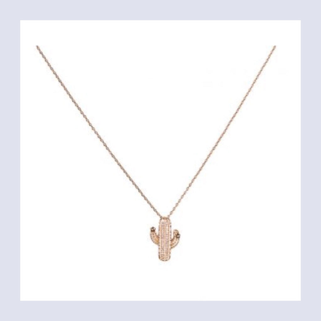 Tropical luxe cactus necklace - rose