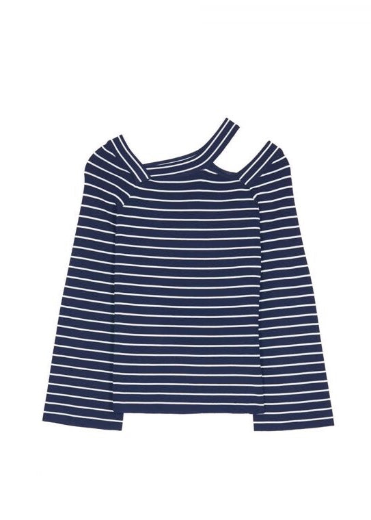 Grace and Mila Navy/white breton top