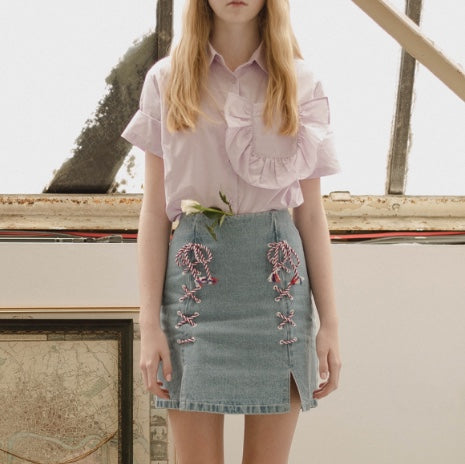 Cubic - denim skirt