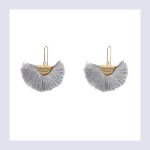 Summer tassel earings - gold/grey