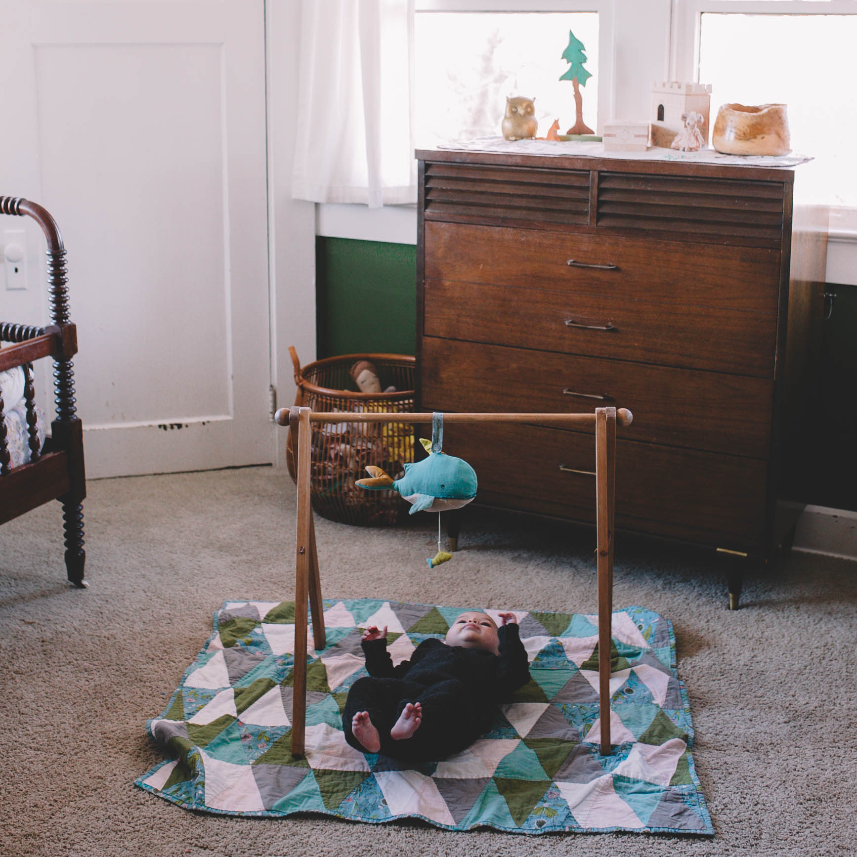 Play mat and baby gym together