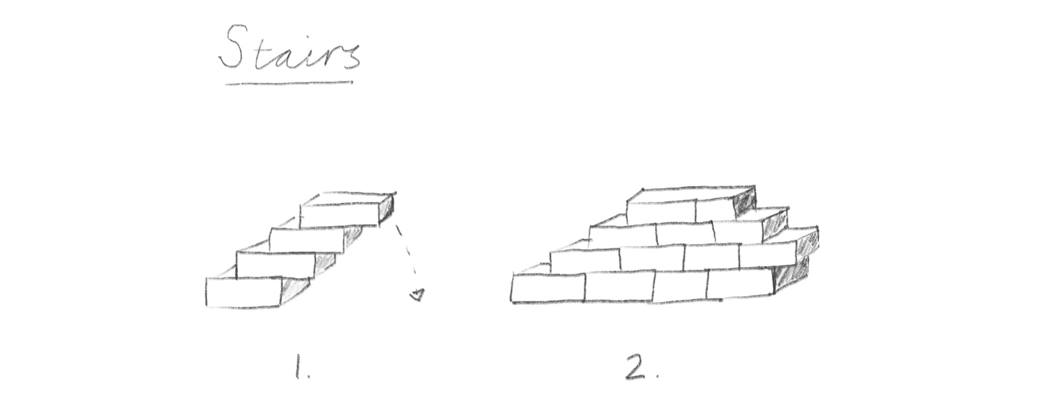 Building self-supporting steps with blocks
