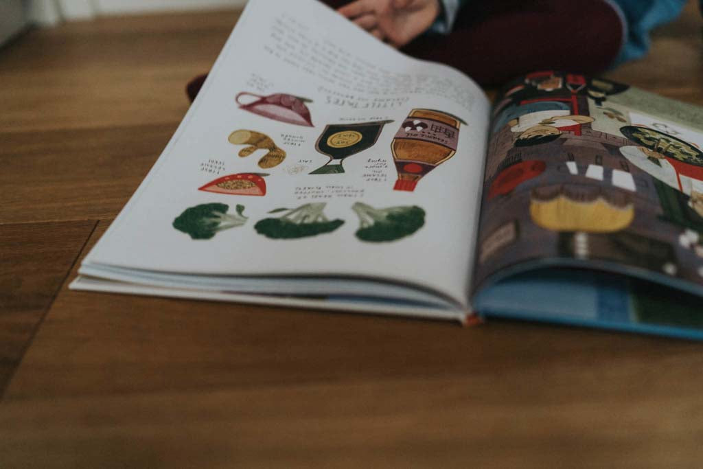 Looking for recipes in a children's cookery book
