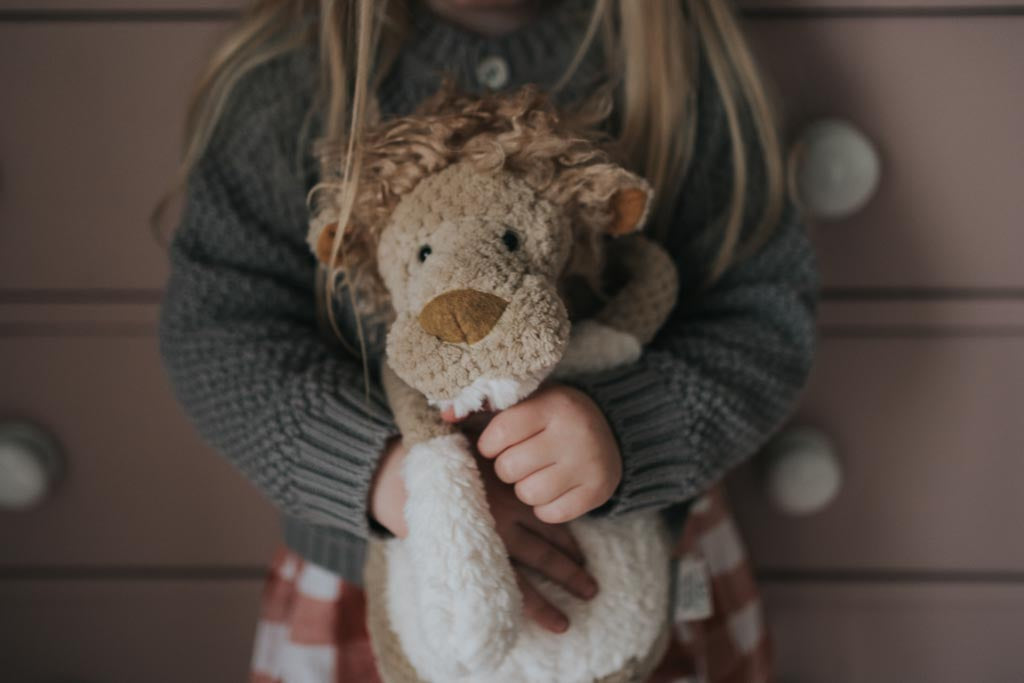 The Moulin Roty Lion being hugged by a girl