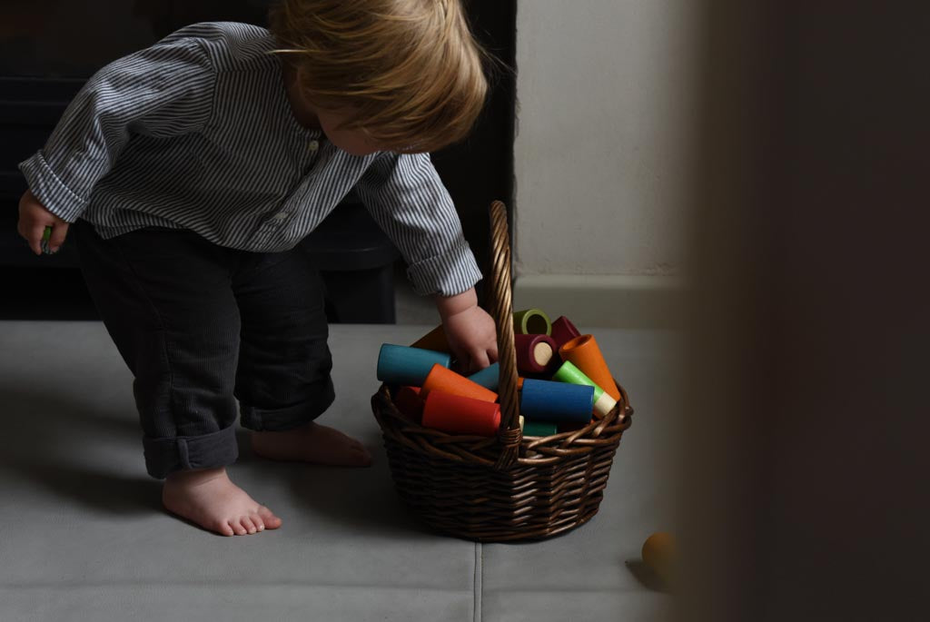 Toys stored neatly in a basket