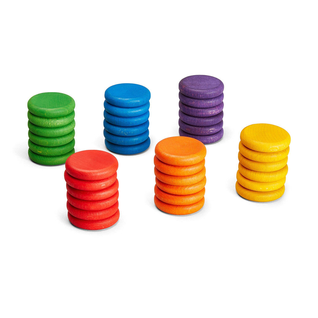 Grapat Loose Parts: Coins in 6 Bright Colours [36]