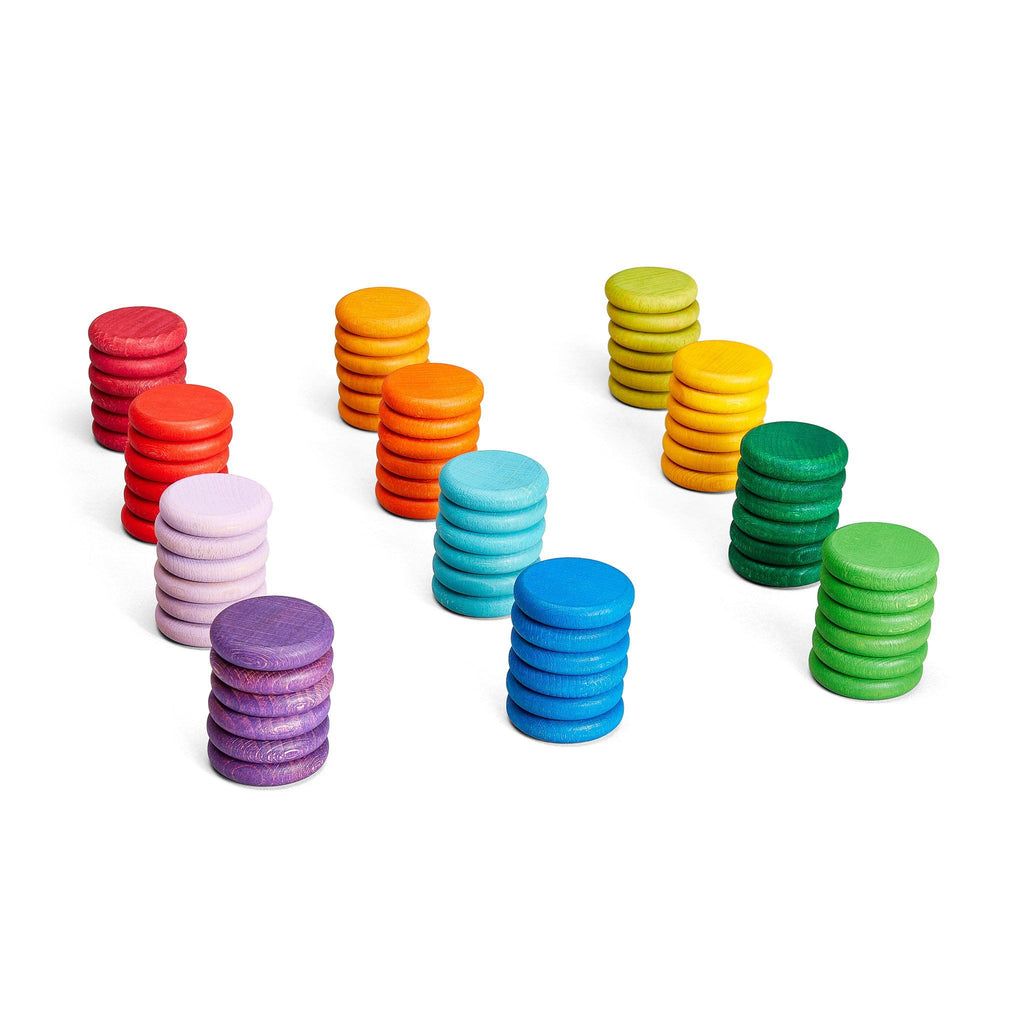 Grapat Loose Parts Coins In 12 Bright Colours 72 One Hundred Toys