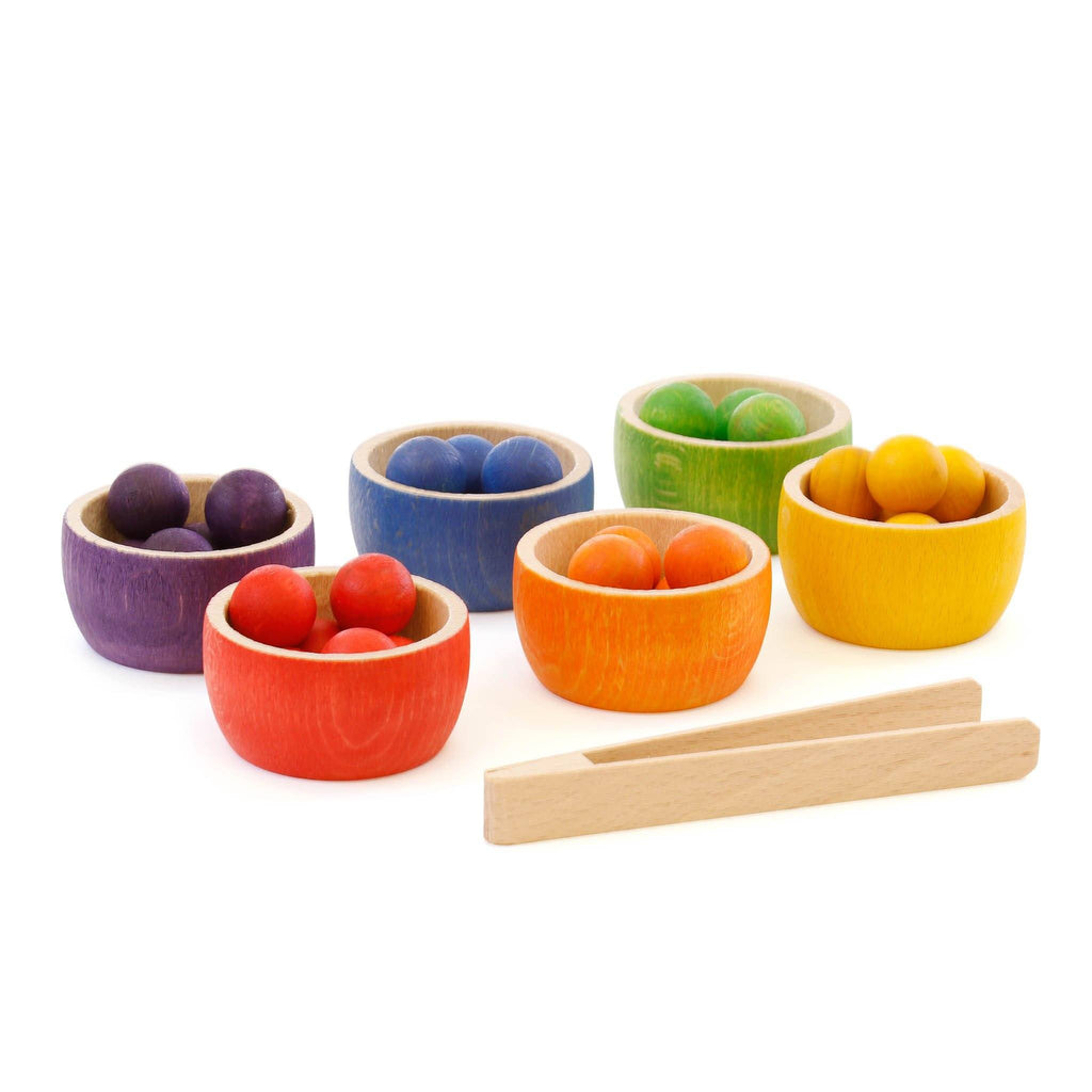 Grapat Wooden Bowls with Marbles and Tongs