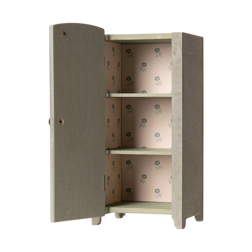 Maileg Vintage Closet W. Shelves Mini - Mint/Grey