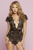 Eyelash Lace Romper with Plunging Neckline