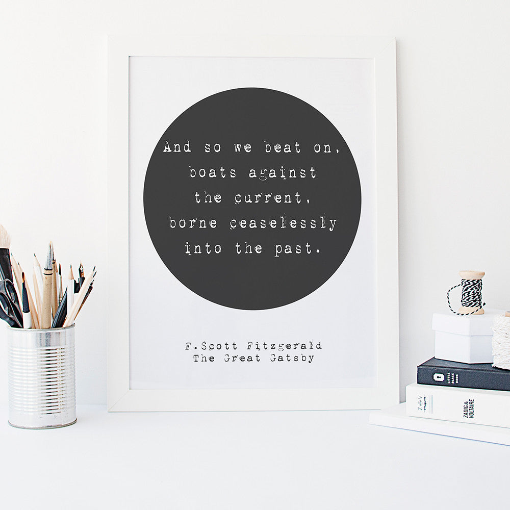 The Great Gatsby quote print by Beau Typographie