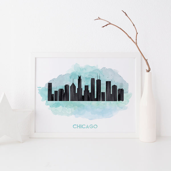 Chicago Skyline art print by Beau Typographie