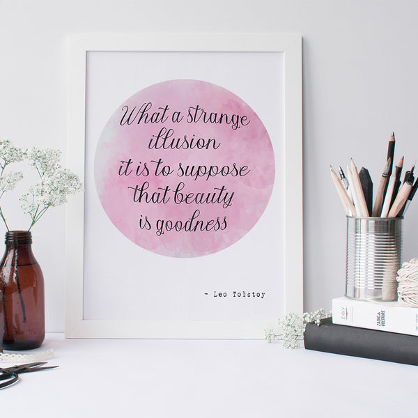 Leo Tolstoy quote art print by Beau Typographie