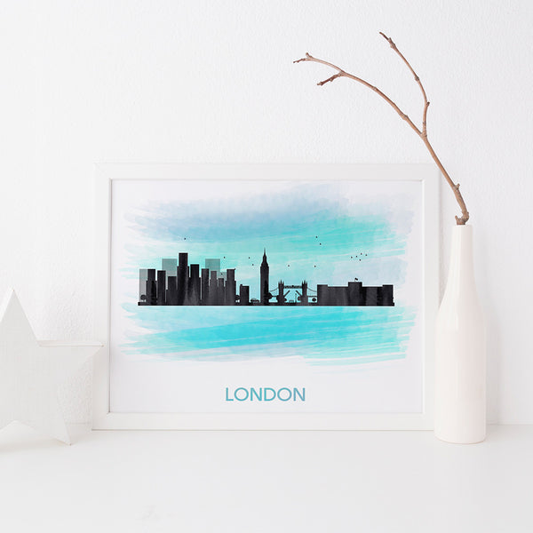 London Skyline art print by Beau Typographie