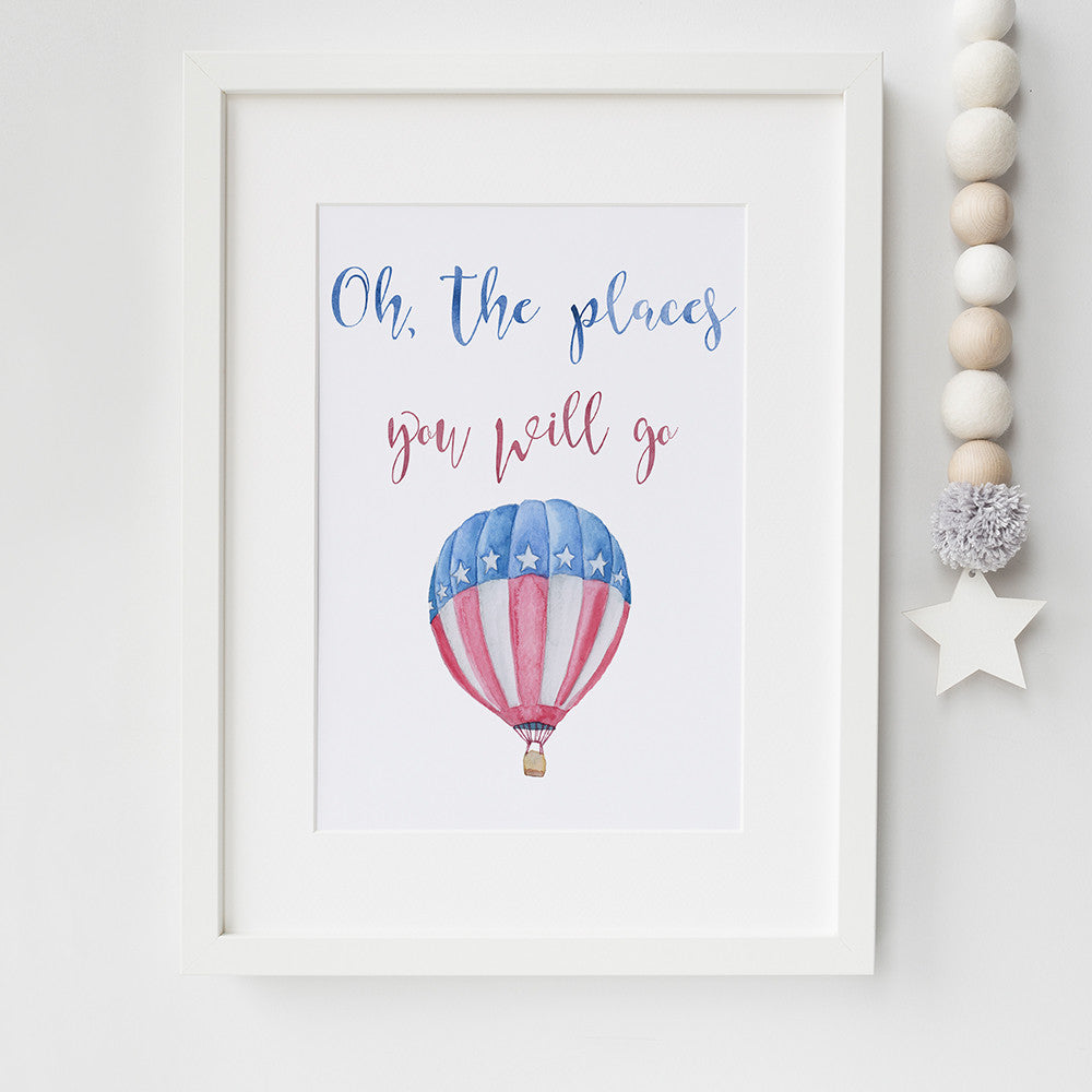 Hot Air Balloon Nursery Print by Beau Typographie