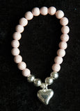 Simple Howlite Stone Bracelet with Pretty Silver Heart