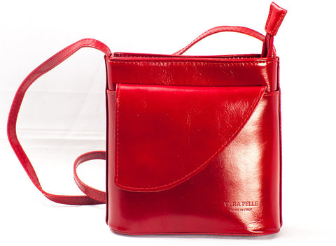 Small over body leather bag with front flap