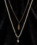 Pretty Long Double Pendant Necklace with Agate Stones