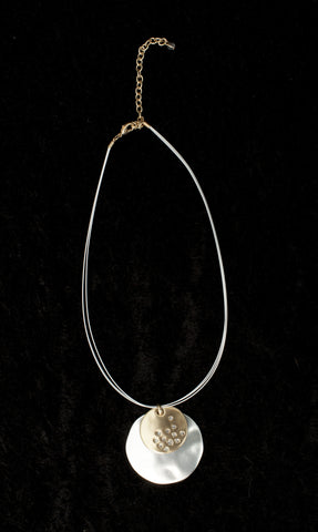 Choker Necklace with Disc in Silver + Gold