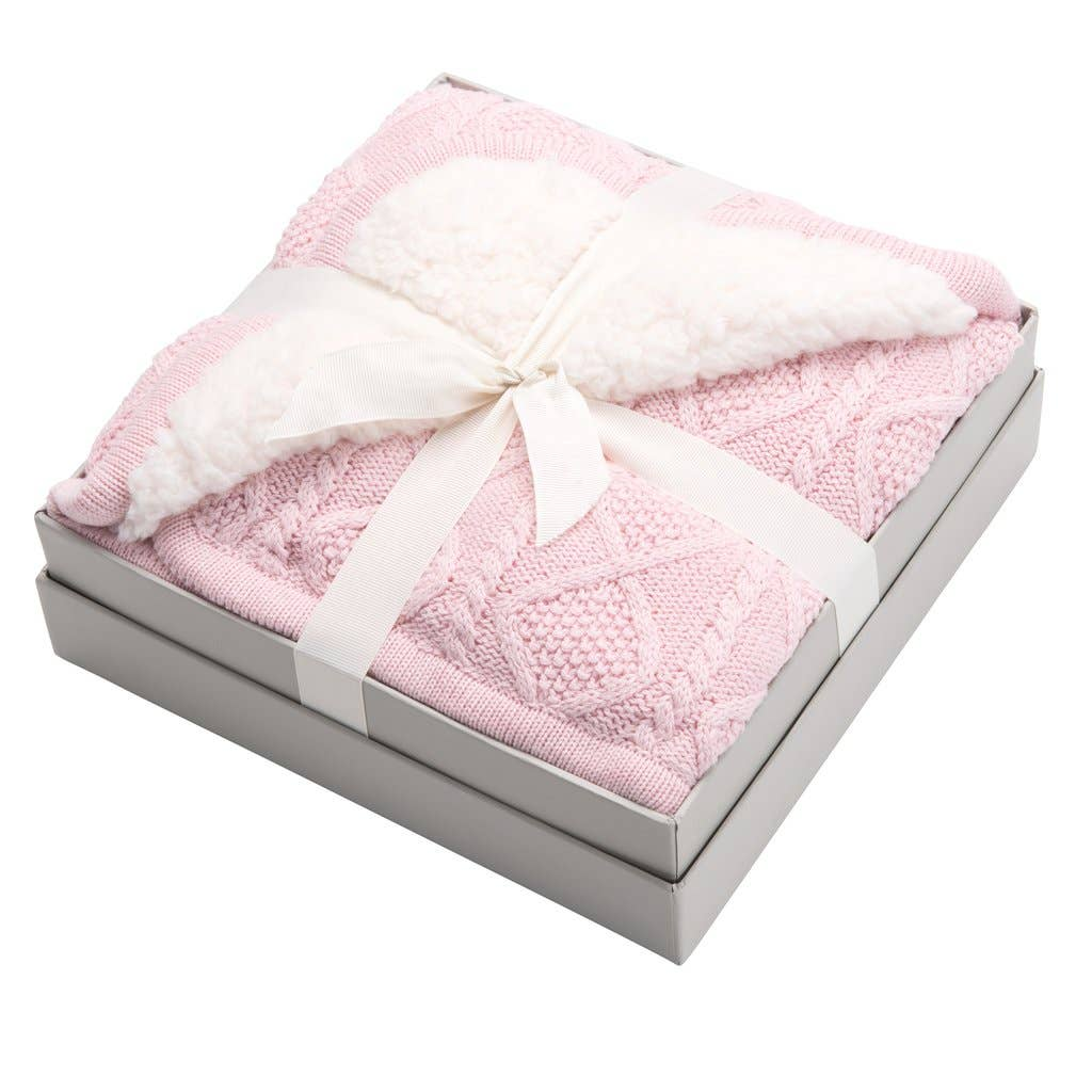 Elegant Baby - Pink Lattice Furback Blanket