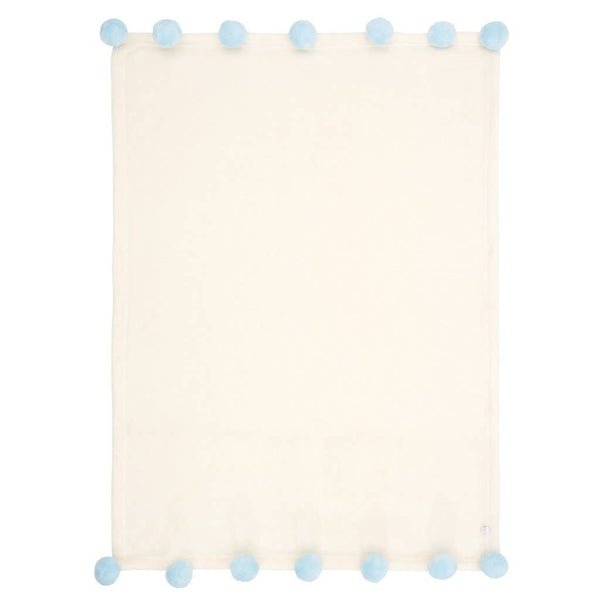 Elegant Baby -  Pom Blanket in Blue or Pink