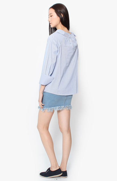 Elise Off Shoulder Blouse - Blue