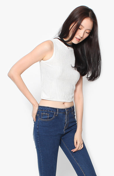 Abby Knit Top - White