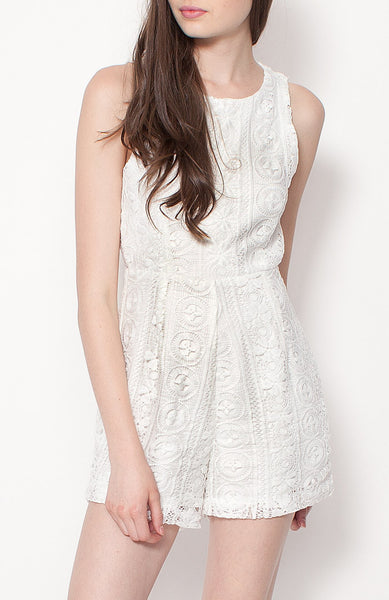 Summer Lace Romper - White