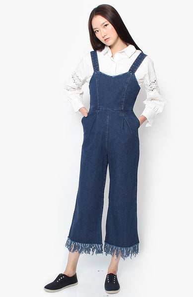 Rylie Frayed Denim Jumpsuit