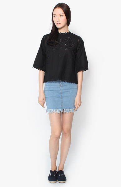 Cleo Denim Frayed Skirt - Light Wash