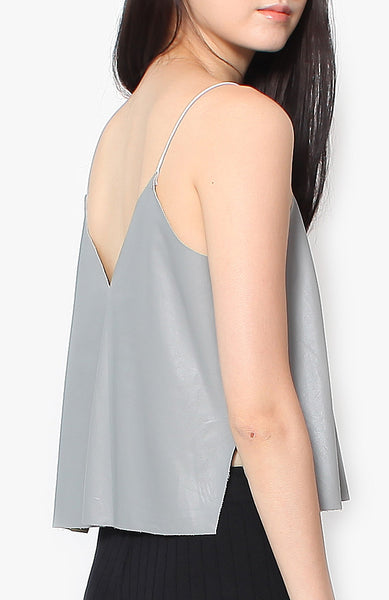 Wyatt Leather Tank - Grey