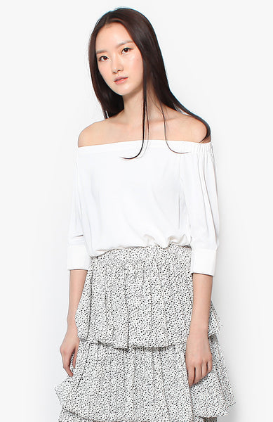 Juliette Off Shoulder Blouson - White