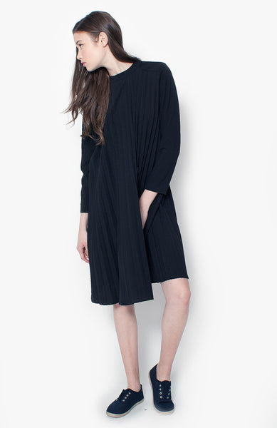 Chloe Pleated Dress - Black