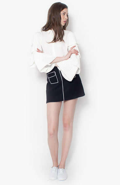 Alexis Pleat Blouse - White