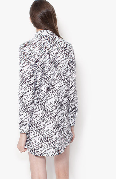 Scribble Shirt Dress - White